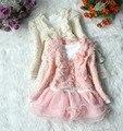 Inverno crianças menina roupas set brasão + moda white lace dress 2 pcs menina conjunto roupa de crianças de inverno da marca crianças conjunto de roupas para menina