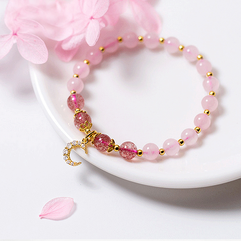 Ruifan Moon Shape Pink Crystal Natural Strawberry Quartz 925 Sterling Silver Bracelet for Women Female Bracelets Jewelry YBR100