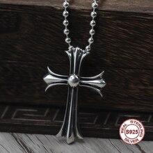 S925 Sterling Silver Men s Pendant Cross Pendant Jewelry tag Personality classics Trendy fashion Send a