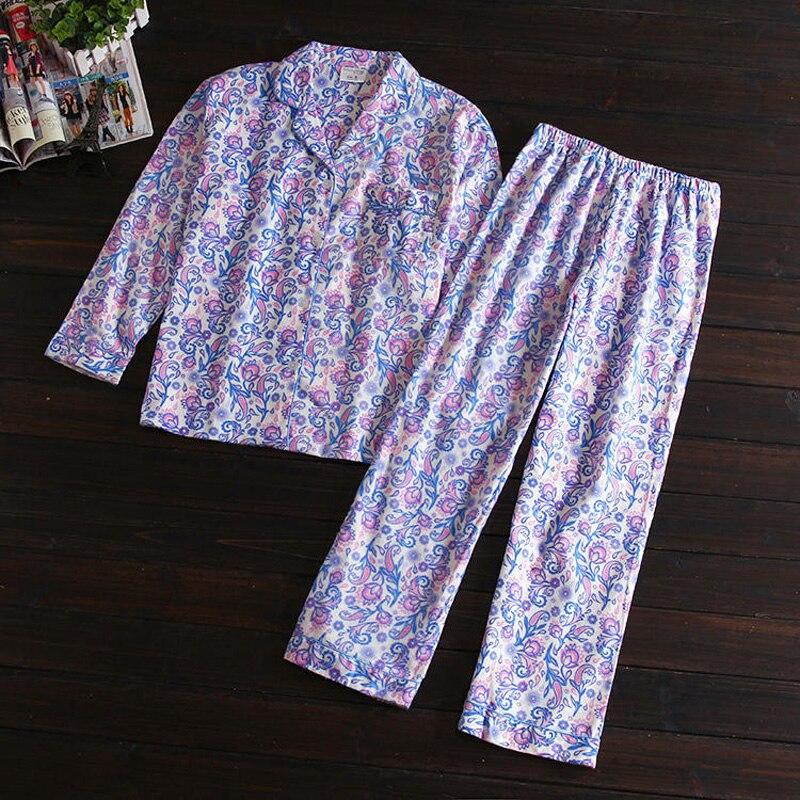 Fresh sunflower women pajama sets 100% brushed cotton Autumn long sleeve Cute cartoon keep warm sleepwear women pyjama femme