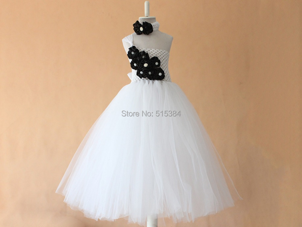 b4d5d62723a Flower girl dress chiffton flowers tutu dress white black baby toddler  birthday wedding dress
