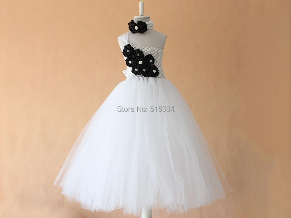Flower Girl Dress Chiffton Flowers Tutu Dress White Black