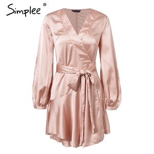 Image 5 - Simplee Ruffles v neck sash women dress Flare sleeve high waist sexy satin dress Autumn winter red wrap casual dress 2018