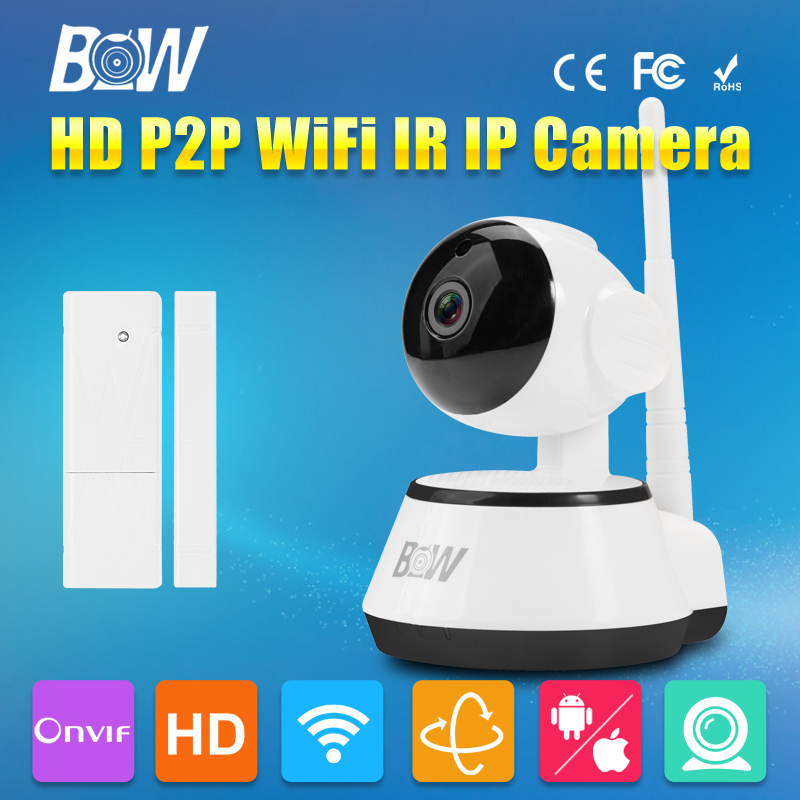 BW HD 720P Wireless IP Camera Wi-Fi Surveillance P2P Baby Monitor IR-Cut Night Vision Door Sensor Security WiFi Camera bw wireless wifi door
