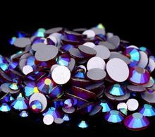 Siam AB Color ss3,ss4,ss5,ss6,ss8,ss10,ss12,ss16,ss20,ss30 Flat Back Crystal Non Hotfix Nail Art Glue On Rhinestones