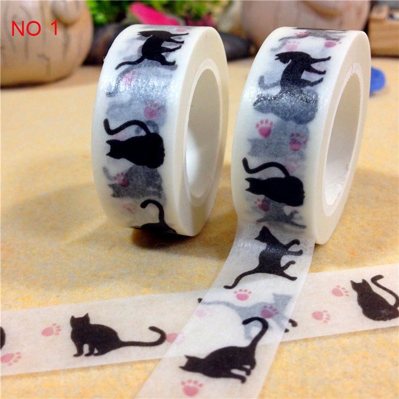 15mm*10 m Kawaii Black cat washi tape Japanese paper Decorative tape DIY Scrapbooking Sticker escolar shcool supplies zakka
