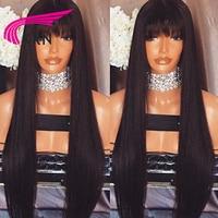 KRN Droite Brésilienne Full Lace Perruques de Cheveux Humains Avec Une Frange Remy Cheveux Pré Pincées Sans Colle Dentelle Perruque Délié normal 130 densité