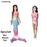 Для девочек хвост русалки для плавания детские летние бикини купальный комплект Косплэй Русалка 3 шт. Топы плавки для плавания одежда для пловца
