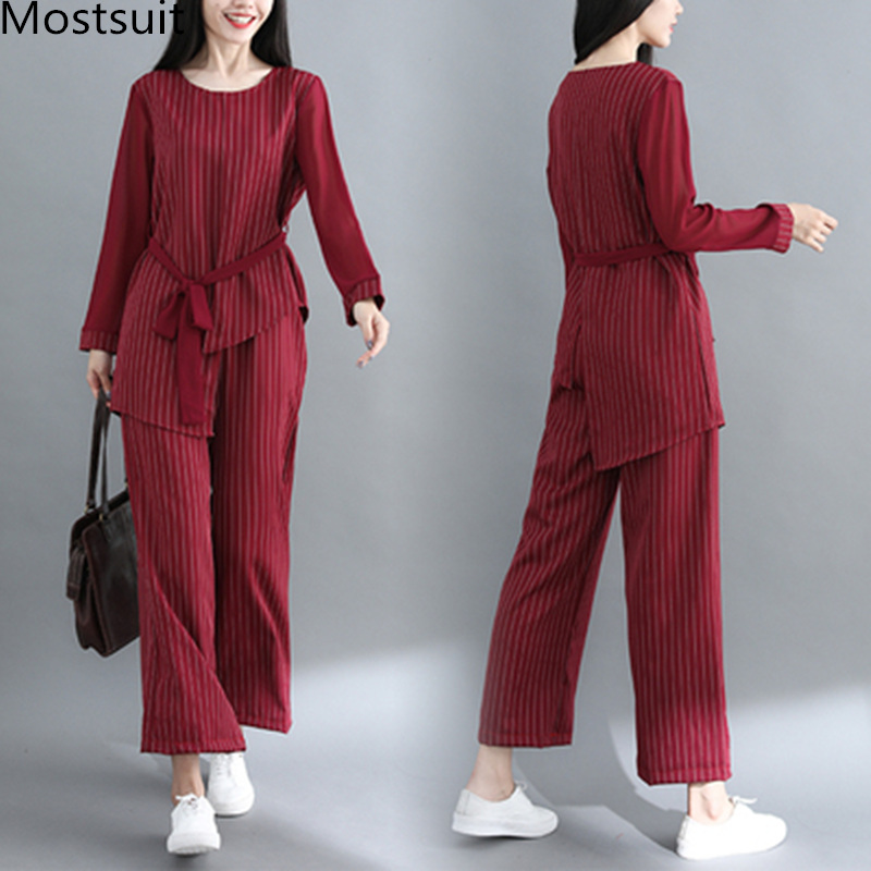 Striped Two Piece Sets Women Long Sleeve Blouses With Belt And Wide Leg Pants Suits Spring Autumn Casual Elegant Ol Style Sets 29