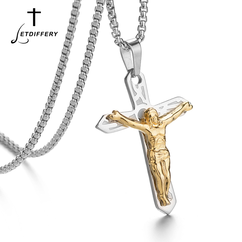 Letdiffery Punk Men Cross Necklace Silver Jesus Necklace Stainless Steel for Fathers Day Gift Acero Inoxidable Joyeria