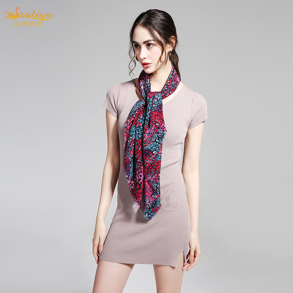 100% Silk Crepe Scarf 110X110cm Pure Silk Fabric Women Scarves Fashion Elegant New Desigual Wrap Square Scarf