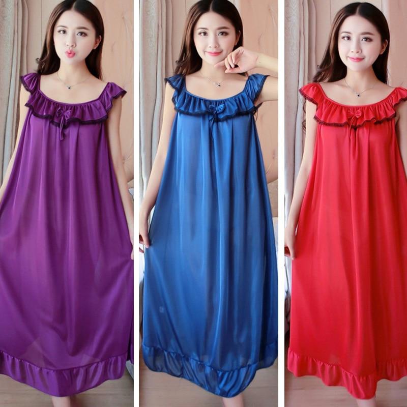 Summer Sexy Satin Night Dress Women Big Size 4xl Silk   Nightgown   Women Lace Lingerie Nightdress Sleeveless Nightie   Sleepshirts