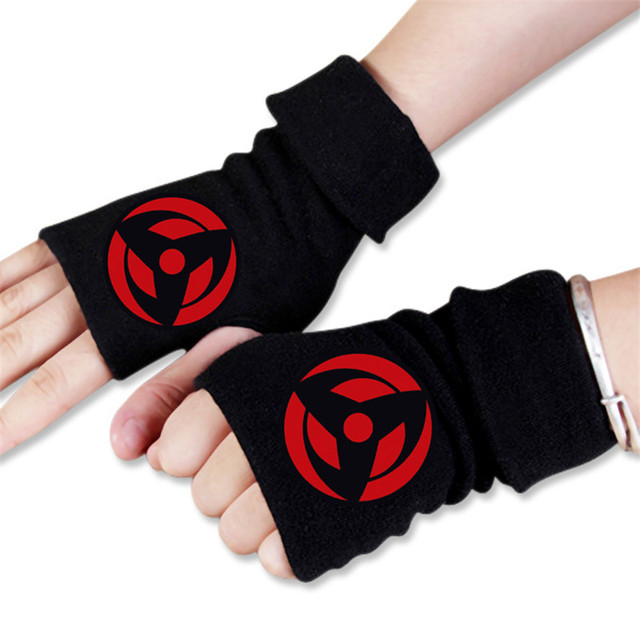 Anime Cartoon Naruto Ninja Hokage Winter Warm Half Finger Glove