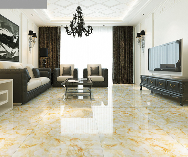 The Royal Symphony Ceramic Tiles 800*800 Gold Microlite Glazed Tile Living  Room TV Wall