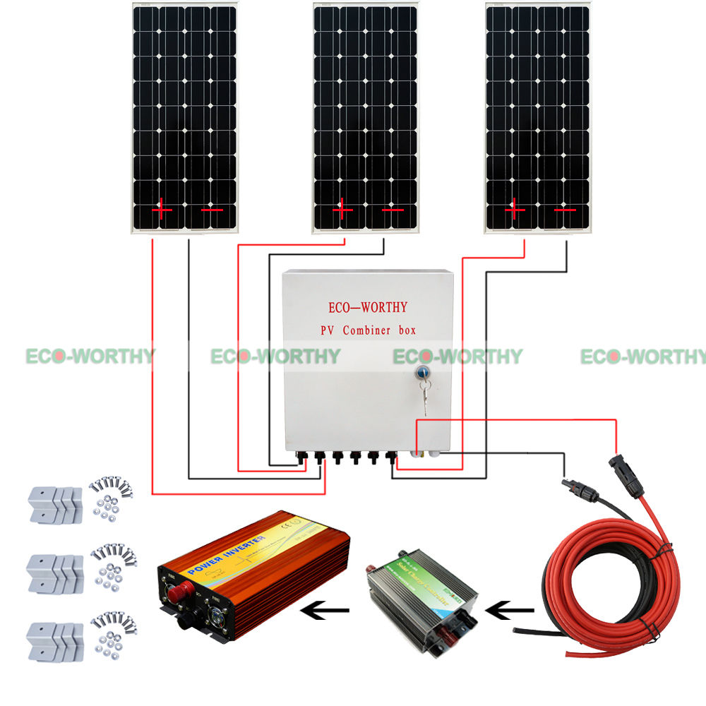 Off Grid System 300W Power Charge 100W Mono Solar Panel W/ Combiner Box