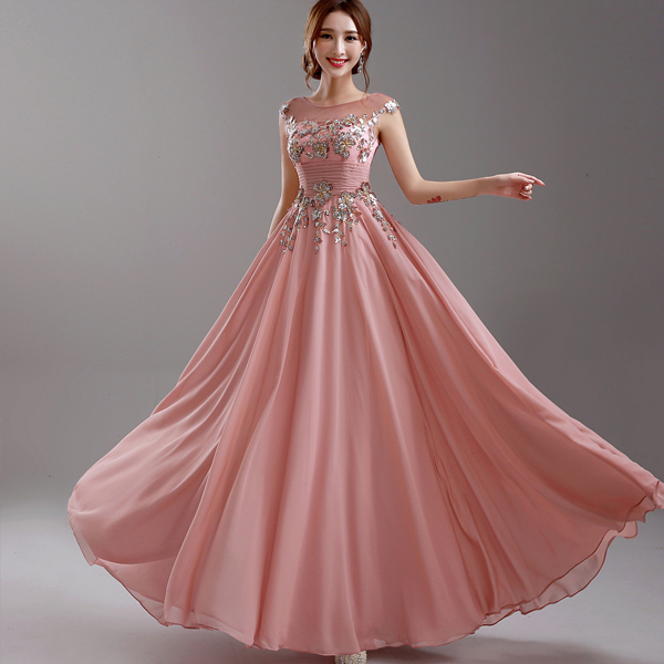 Evening Dress 2015 New Arrival Bride Married Pink Embroidery Lace ...