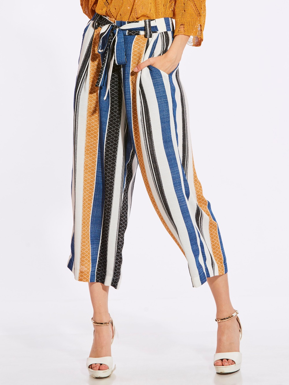 2018 Loose Trousers Women Trousers Elegant Brand lace up bow Womens Trousers Vertical Striped High Waist Wide Leg Pants