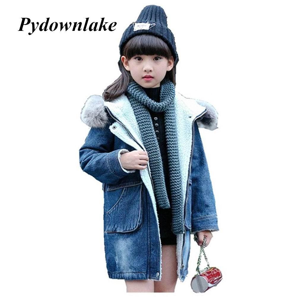 Pydownlake Children Outerwear Warm Jeans Coat Kids Clothes Windproof Thicken Baby Girls Autumn Winter Denim Windbreake Jackets