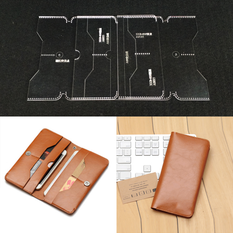Practical Acrylic Wallet Card Bag Transparent Templates Leather Craft Pattern Stencil Design For Making Business Long Wallets