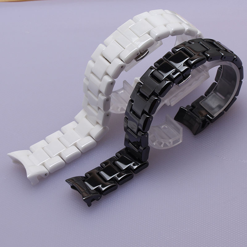 curved end Watchbands 22mm High Quality Ceramic Watchband white black Diamond Watch fit 1400 1403 1410