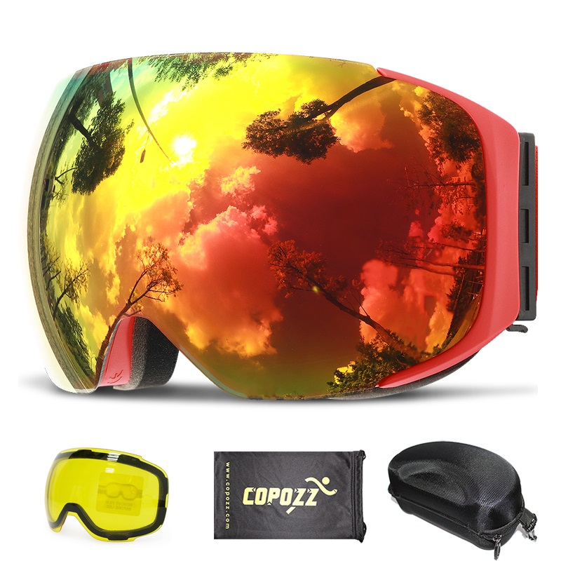 COPOZZ Magnetic Ski Goggles with Quick-change Lens and Case Set 100% UV400 Protection Anti-fog Snowboard Goggles for Men & Women lowepro quick case 100