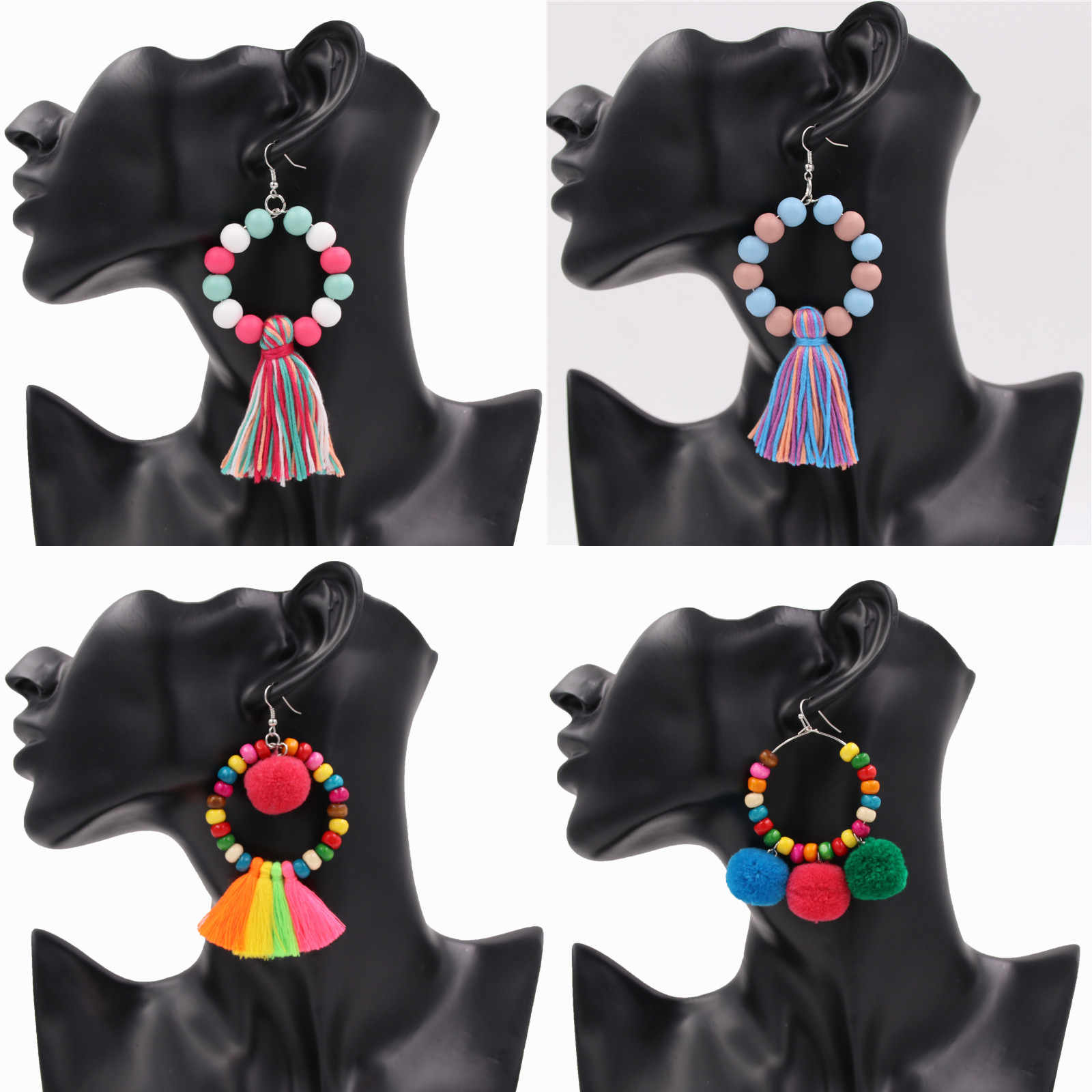 1Pair Boho Style Women Earrings With Pompom Colorful Wooden Beads Drop Earring Tassel Jewelry Dropshipping