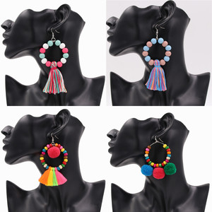 1Pair Boho Style Women Earrings With Pom