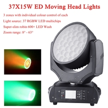 NEW Zoom Wash Moving Head Lights 37X15W RGBW 4IN1 LED Moving Head Lights Professional Led party bar  DJ disco Stage Light 1 pcs lot 7 10w rgbw 4in1 mini moving head led 90w sopt moving head light for dj bar club party wedding decoration