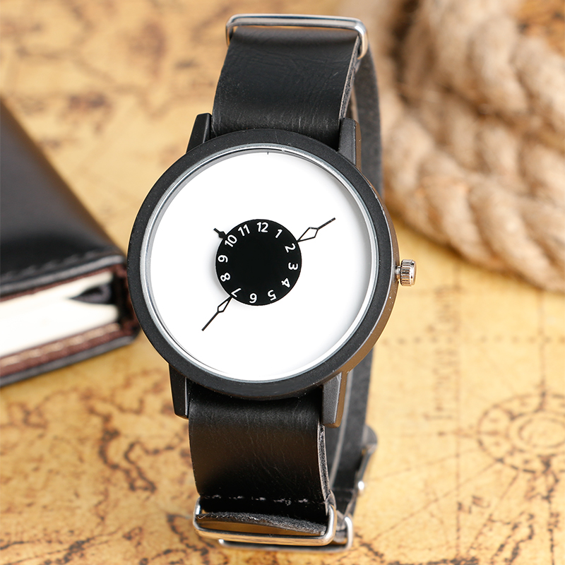 Classical Reloj De Las Mujeres Turntable Design Quartz Watches with Leather Band for Men Women Gift Montres