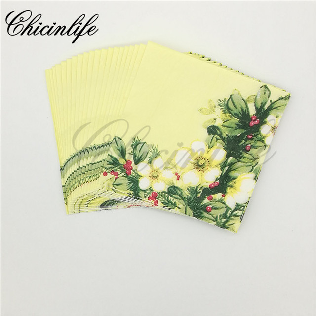 Chicinlife 20pcs 2 ply yellow flower paper napkins decoupage happy chicinlife 20pcs 2 ply yellow flower paper napkins decoupage happy wedding decoration party tissue floral mightylinksfo