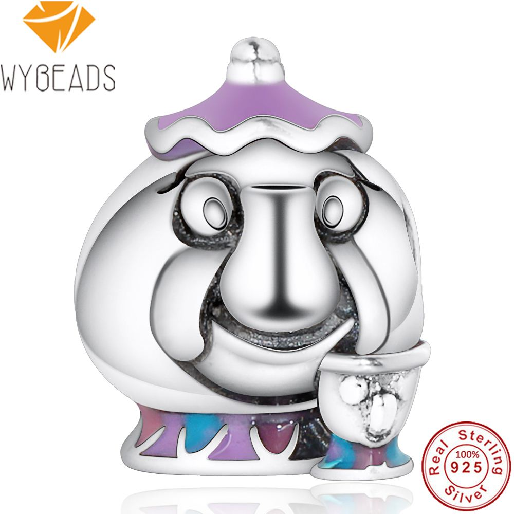 WYBEADS Fine 925 Sterling Silver Mrs. Potts & Chip Charms Mixed Enamel European Bead Fit Bracelet DIY Accessories Jewelry Gift