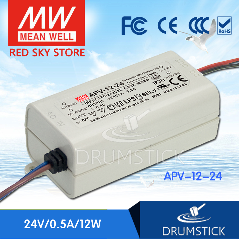 ФОТО Redsky [free-delivery 10Pcs] MEAN WELL original APV-12-24 24V 0.5A meanwell APV-12 12W Single Output LED Switching Power Supply