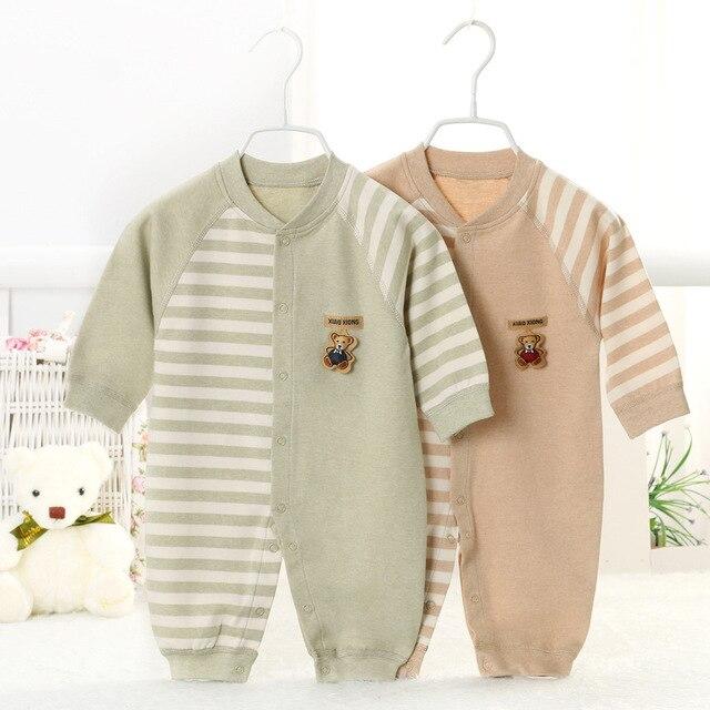 Осень ребенка комбинезон Мультфильм полосы новорожденных девочек мальчиков комбинезон Комфортно 100% хлопка с длинным рукавом ребенка ползать одежда