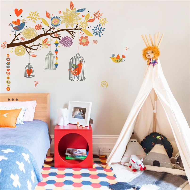 Wall Stickers For Kids Room Decoration Diy Twig Bird Cage Sticker Bedroom Muraux