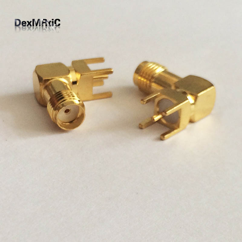 SMA  Female Jack  RF Coax Connector  PCB  Cable  Right Angle  Goldplated  NEW  wholesale