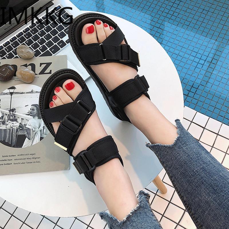 New 2019 Women Beach Sandals Summer Ladies Flip Flops Flat Driving Shoes Zapatos De Mujer Sport PU Sandals A00212