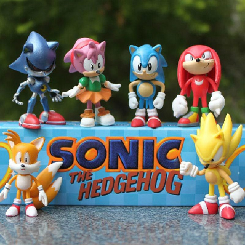 Sonic the Hedgehog 6pcs/set Figures pvc Toy Sonic Shadow Tails Action Figure Collectible Model Hand to do the Toys small toys neca planet of the apes gorilla soldier pvc action figure collectible toy 8 20cm