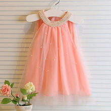 2017 Fashion Baby Girls Children Dresses Solid Color O-Neck Collar Princess Girls Dresses Summer Cute Style Kids Clothes