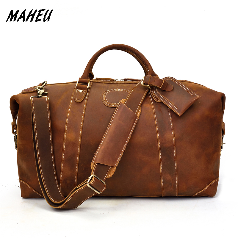 MAHEU 100% Genuine Crazy Horse Leather Men Travel Bags With Rivet Big HandBag For Male Cowhide Duffel Bag Mans Travelling Bag