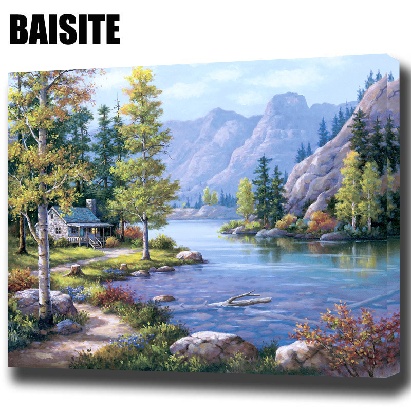 Baisite Diy Framed Oil Painting By Numbers Landscape Pictures Canvas Painting For Living Room Wall Art Home Decor E769