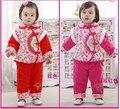 Новорожденных Девочек комплект одежды Китайский стиль Тан костюм рождения наряды зима ватные куртки набор детской одежды бесплатная доставка