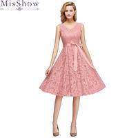 14b445c56e4 Best Price Robe demoiselle d honneur 2019 new Lace Sleeveless V Neck A Line  Elegant Dust Pink bridesmaid dresses short plus size cheap