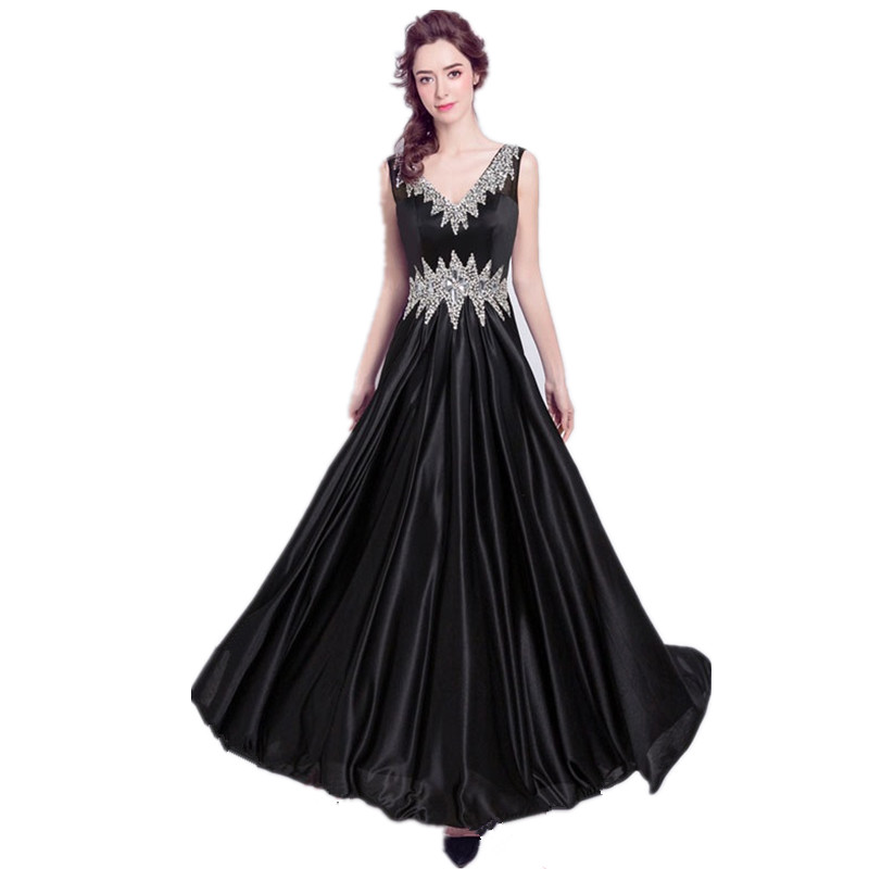 Long Formal Beaded Luxury Elegant Black Saree Robes De Soiree 2017 Longue Dress Party Evening Elegant for Women On Sale A20