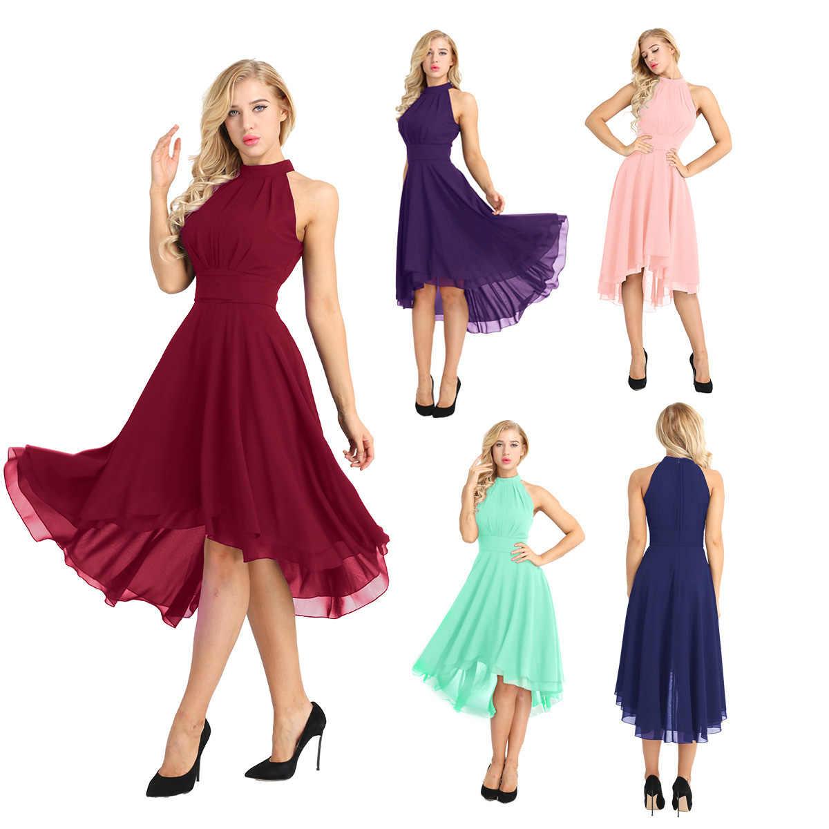 c0faff4e9c782 Chiffon Bridesmaid Formal Dress Women Elegant Vestido Verao Sleeveless  Halter Wedding Party Dress Summer Women Dress