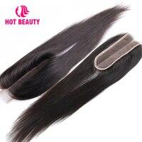 Hot Beauty Hair Lace 2*6 Kim k Closure Straight Human Hair Bundles Brazilian Closures 10 16 Inch Natural Color Virgin Hair