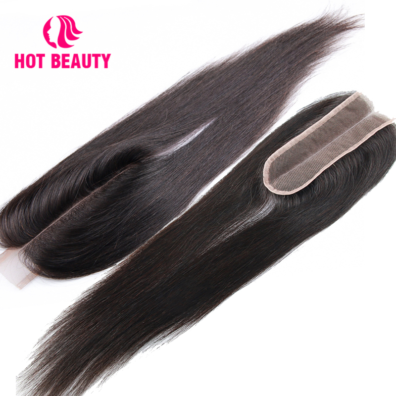 Hot Beauty Hair Lace 2*6 Kim k Closure Straight Human Hair Bundles Brazilian Closures 10-16 Inch Natural Color Virgin Hair