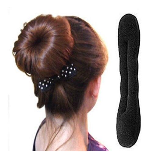 22センチ大きな固体黒ナイロンックスポンジテニアヘッドバンド髪ドーナツhairdiskデバイス