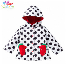Belababy Spring Girl Jacket 2017 New Children Waterproof Windproof Polka Dot Trench Coat Kids Autumn Hooded Jackets For Girls