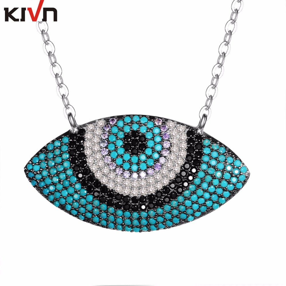 KIVN Jewelry Turkish Blue eye CZ Cubic Zirconia Womens Girls Bridal Wedding Pendants Necklaces Birthday Gifts 6pcs Lot Wholesale