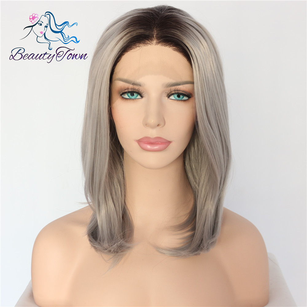 BeautyTown Bobo Heat Resistant Short Black ombre Grey Hand Tied Daily Makeup Synthetic Lace Front Party